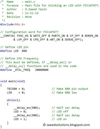 PIC16F877 LED blinking code + Proteus simulation   Saeed's Blog