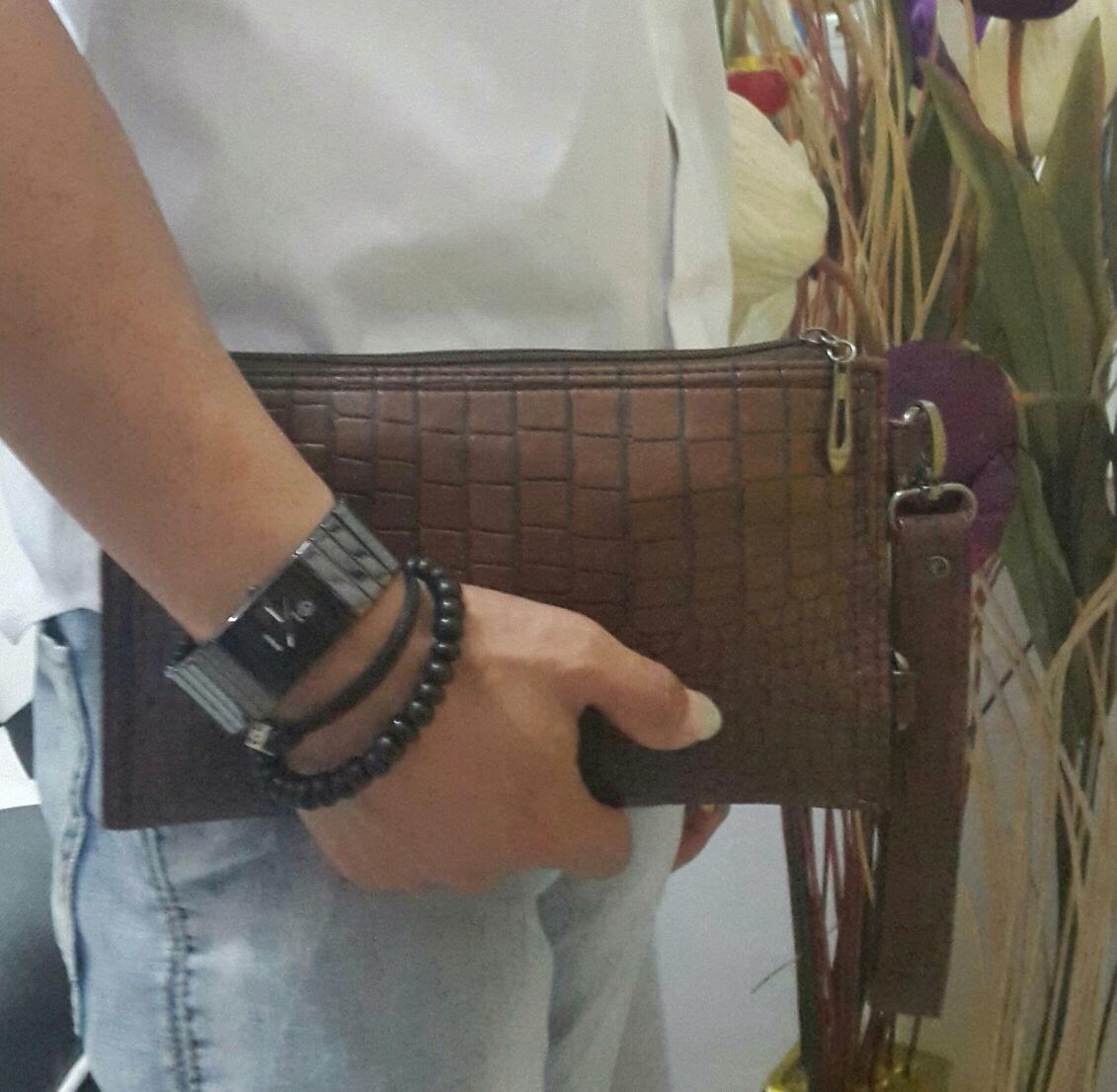 jual online dan gambr tas fashio Mini clutch bag motif croco bahan kulit asli
