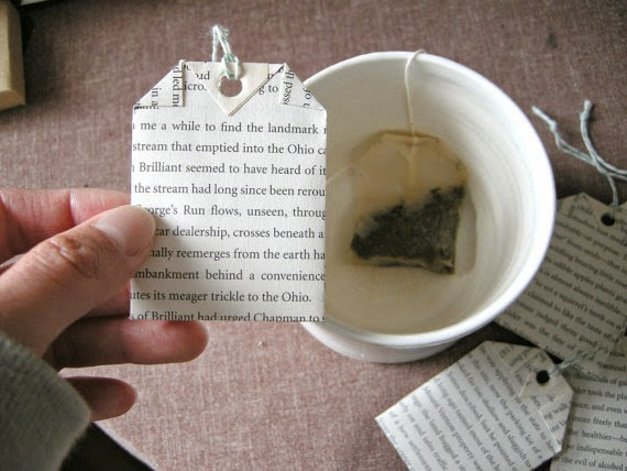 decorative tea bags from books