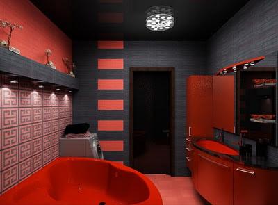 Ba o rojo y negro 2013 decoracion de cocinas decoracion Decoracion de banos en rojo