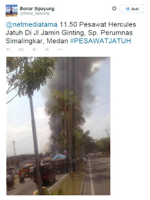 Pesawat Herkules Jatuh Di Jalan Jamin Ginting Simpang Perumnas Simalingkar Medan