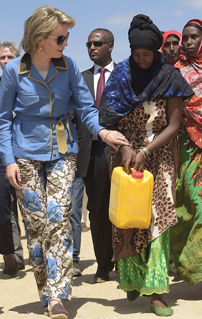 Queen Mathilde of Belgium pictured during an inauguration of school water point and trees planting on the third day, part of a four days visit of Belgium Queen in Ethiopia