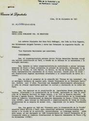 Moción de homenaje póstumo de la Cámara de Diputados del Perú.