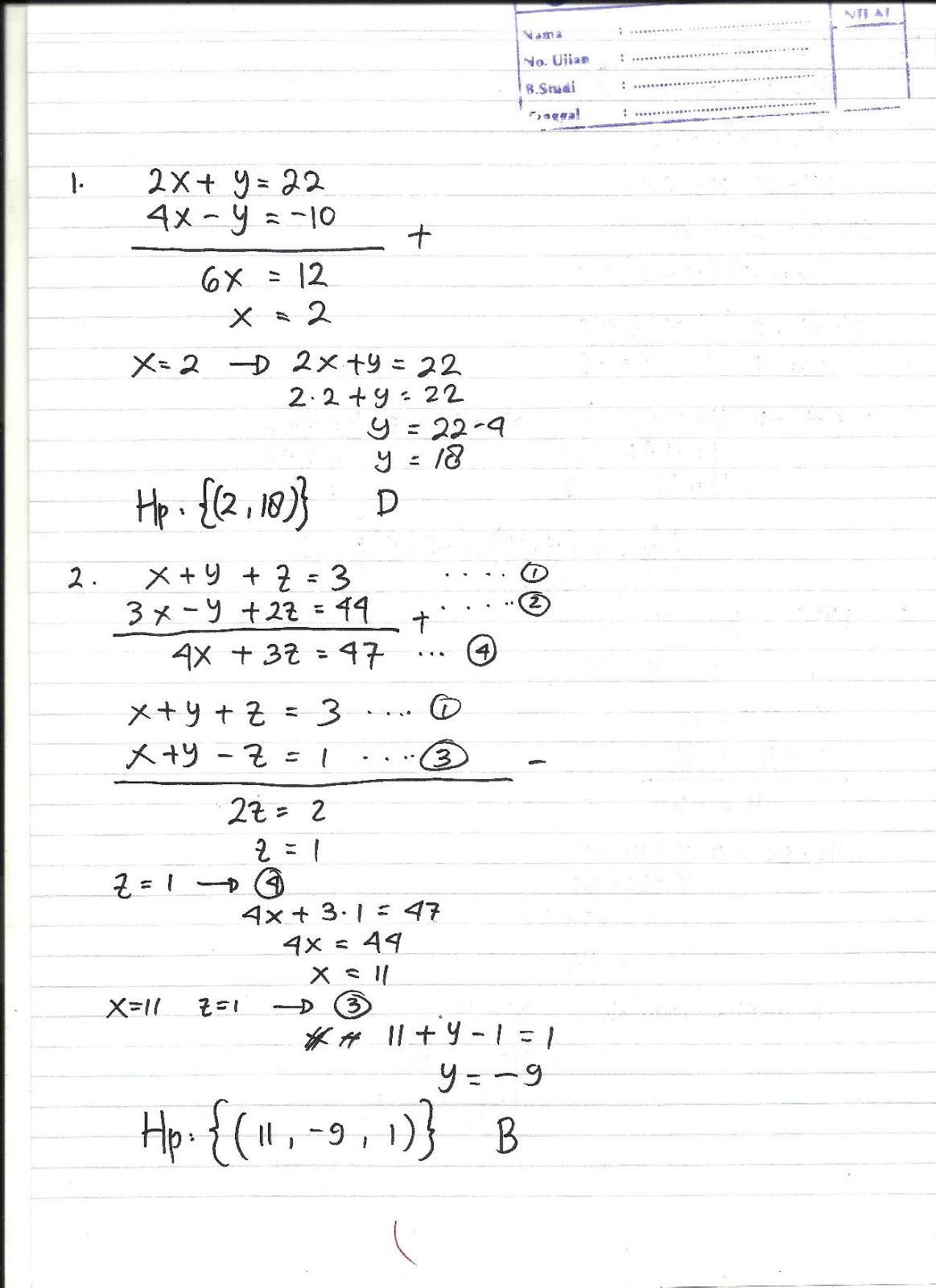 Jawaban Ulangan Matematika Kelas X Math Is My Soul