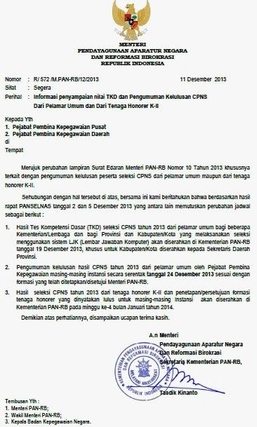 Perubahan Jadwal Pengumuman Hasil Tes CPNS 2013