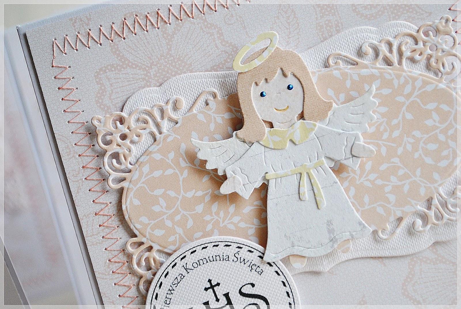 zaproszenie na pierwszą komunię święta z aniołkiem dla dziewczynki