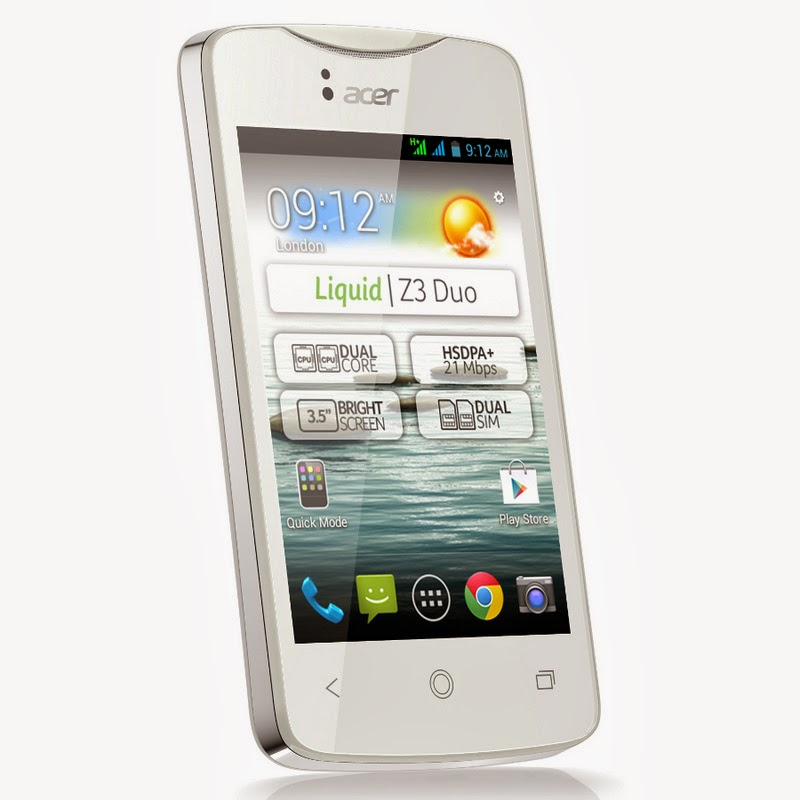 Spesifikasi Dan Harga Acer Liquid Z3 White Terbaru