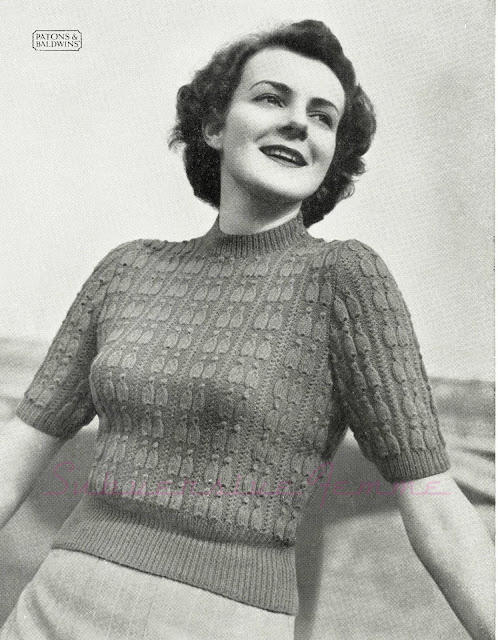 free vintage knitting pattern 1950s 1940s cable jumper sweater