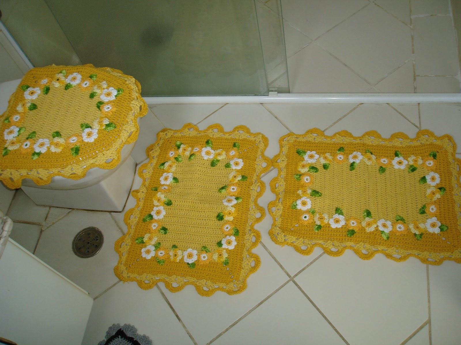 Tecendo Receitas: Jogo de banheiro em croche margaridas amarelas  #6D5114 1600x1200 Acessórios Banheiro São Paulo