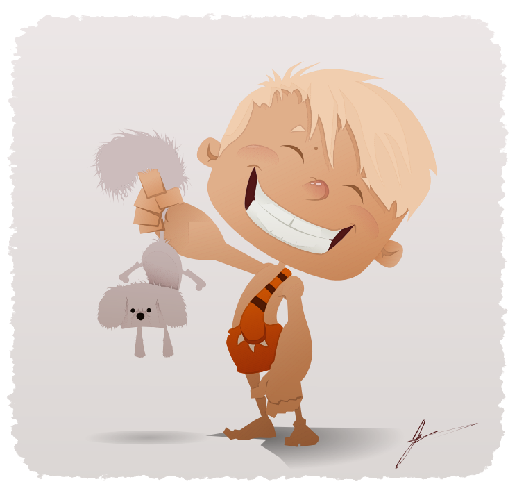 Mason Man Vector Illustration Cave Boy Cartoon With Dog Done In Inkscape
