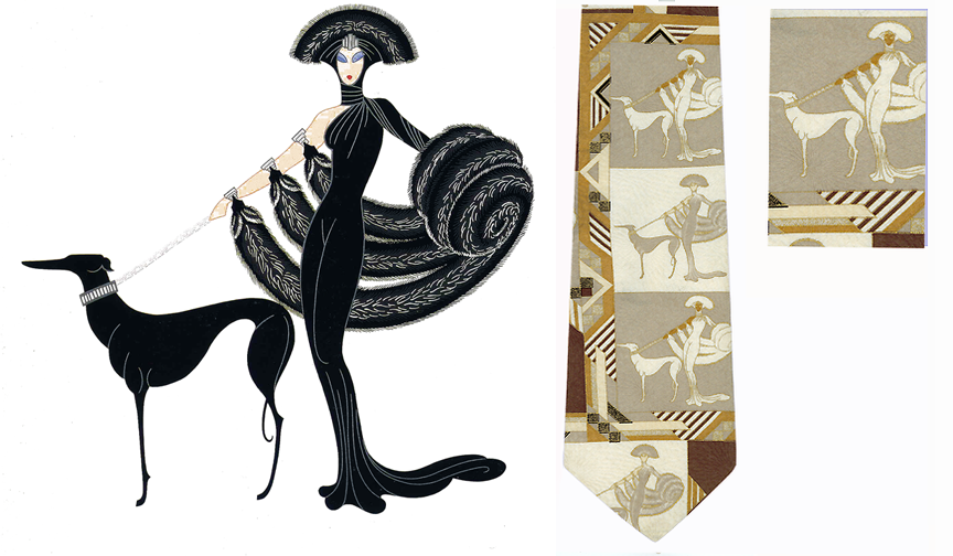 Erte Art Symphony in Black Silk Tie