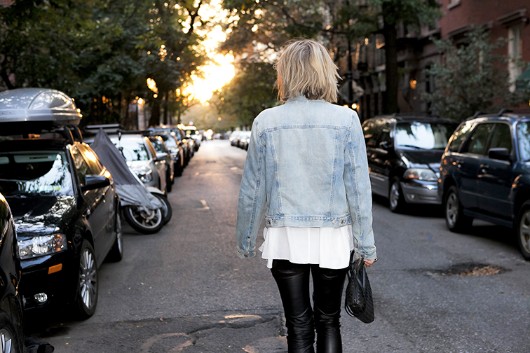Fashion Over Reason, walking off into the sunset in the West Village, New York City, Gap jean jacket, denim