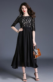 New 2017 Three Quarter Sleeve Crochet Lace Top Black Flare Dress