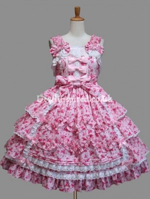 Sweet Printed Lace and Bow Sleeveless Lolita Dress