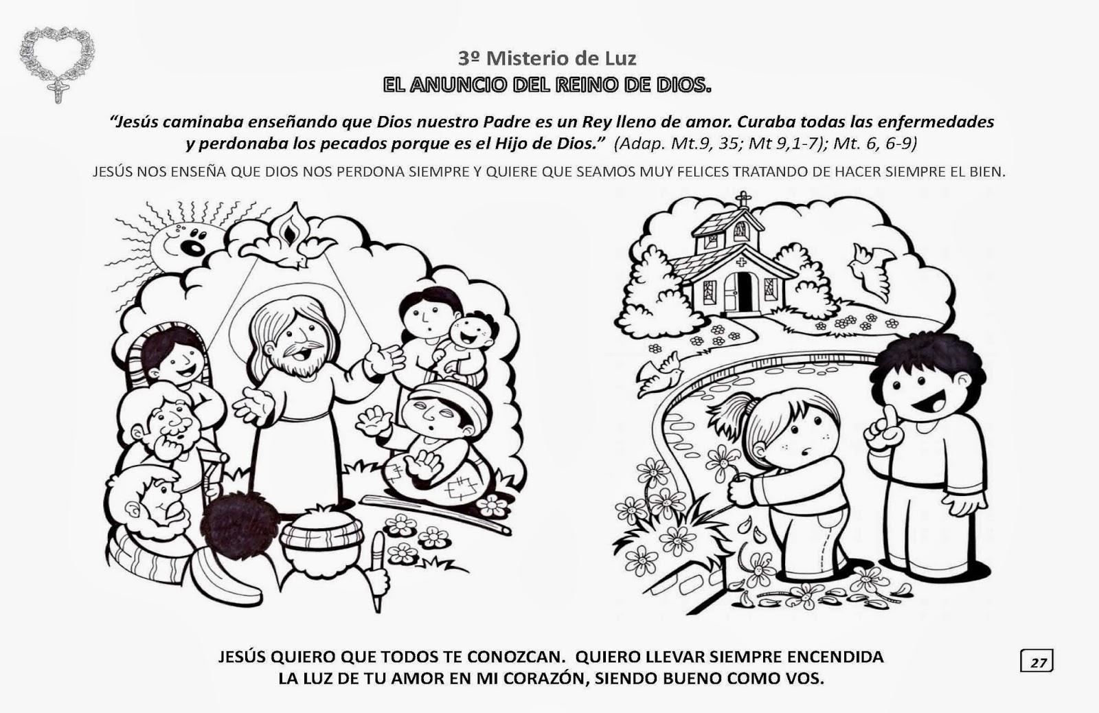 PARA COLOREAR: Los Misterios del Santo Rosario para iluminar