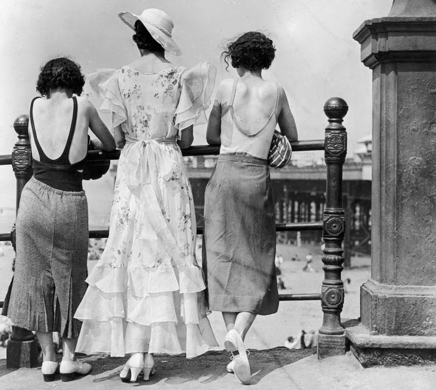 Three women along the boardwalk in Blackpool, England, ca. 1934 ~ vintage eve...
