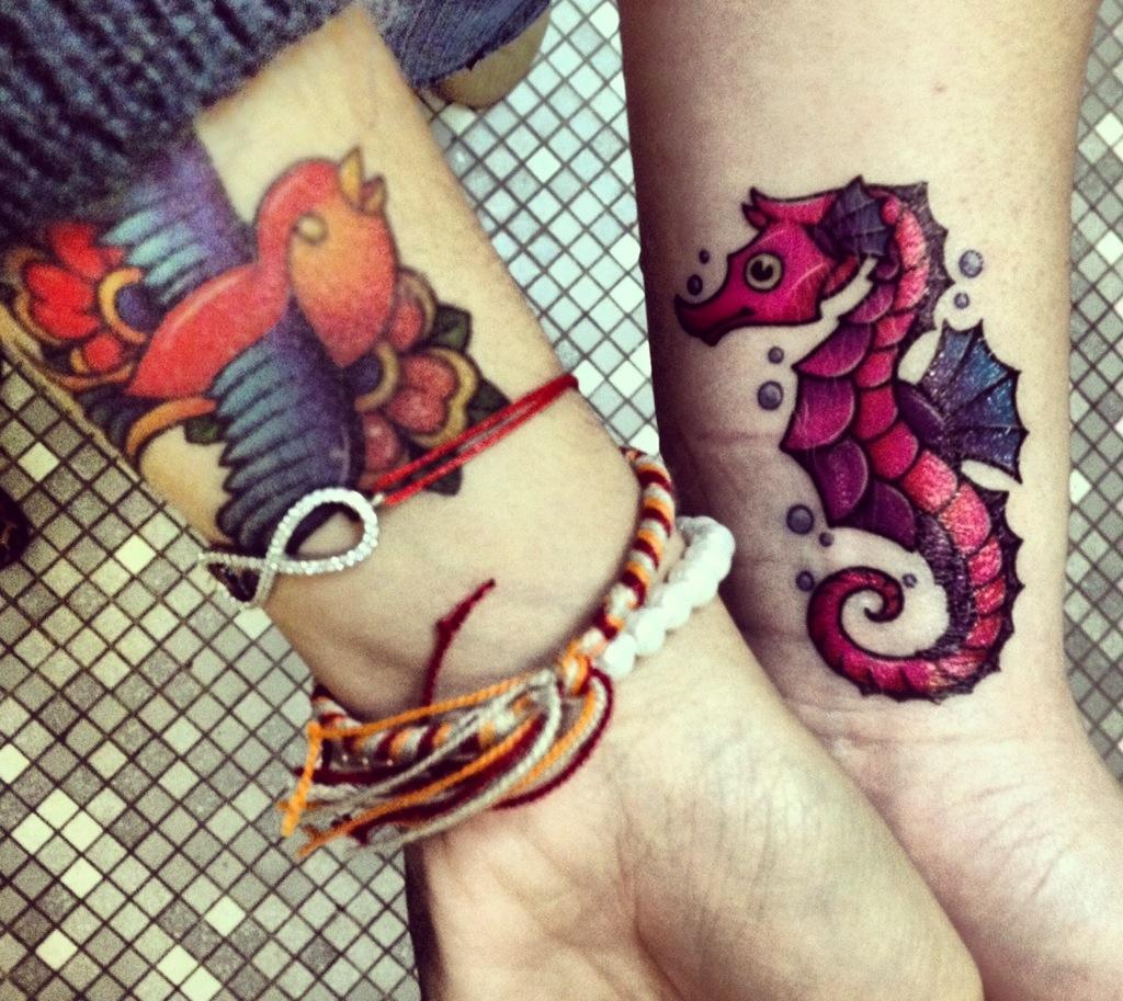 Seahorse Hand Tattoos