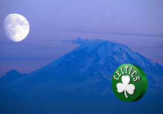 Boston Celtics Free Wallpapers for the fans Celtics left Logo in Ascent Moon Mountain background