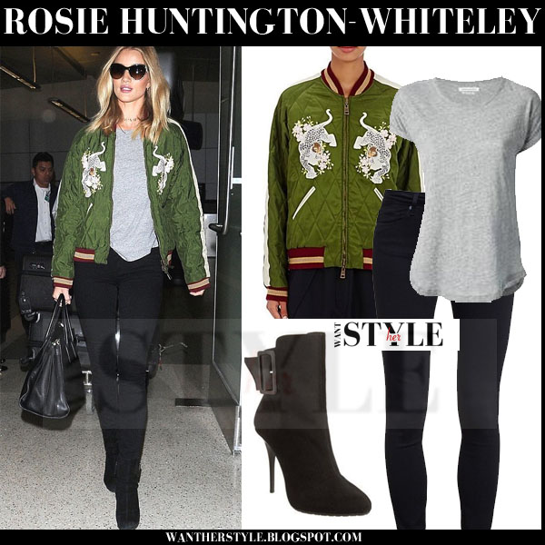 Rosie Huntington-Whiteley in green bomber chloe tech satin jacket and black skinny jeans what she wore models off duty