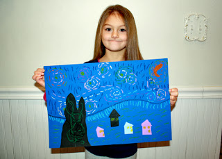 "Tessa's completed rendition of ""Starry Night."" She really had a lot of fun with this one. I think it may be one of her favorites."