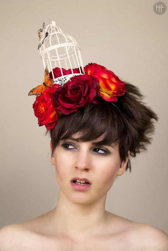 birdcage, fascinator, hat, roses, ascot, millinery, butterflies, quirky