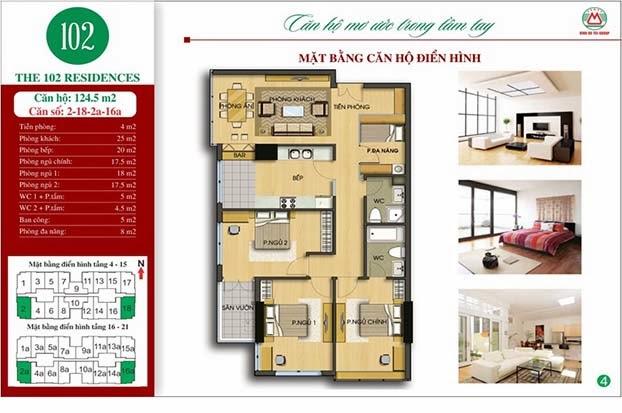 Chung cư 102 Trường Chinh kinh kỳ 124m2 - The 102 Residences