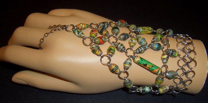 http://www.ebay.com/itm/Marvel-Incredible-Hulk-Upcycled-Paper-Bead-Handflower-Slave-Bracelet-/221705316638