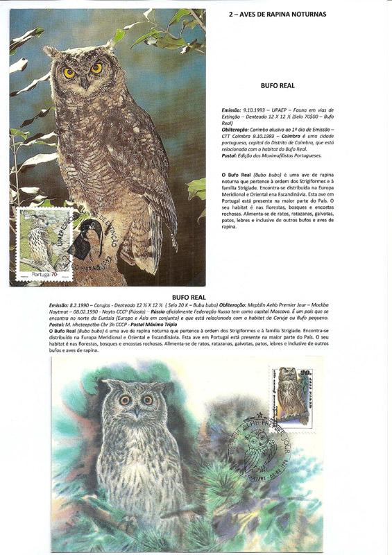 Colección filatélica aves de rapiña