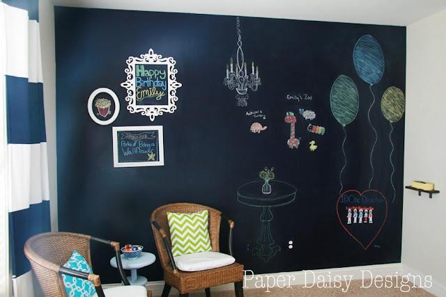 paper daisy designs true blue navy chalkboard wall. Black Bedroom Furniture Sets. Home Design Ideas