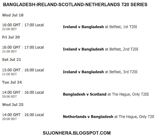 Bangladesh-Ireland-Scotland-Netherlands T20 Series Fixture/Schedule
