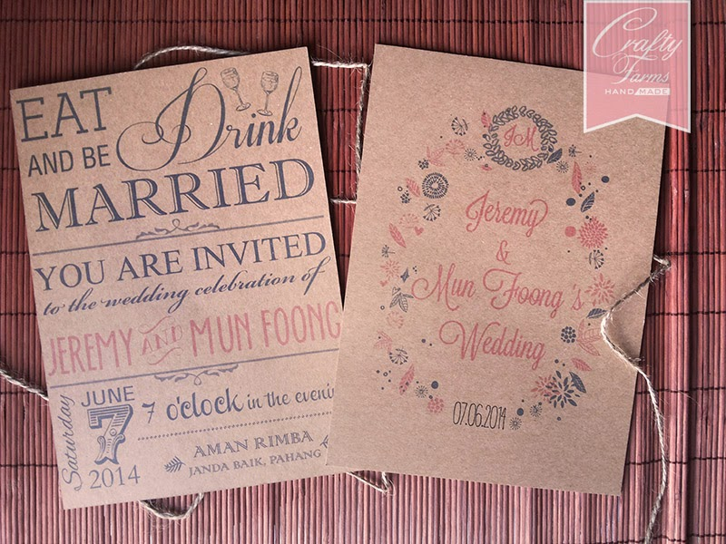 Typography rustic wedding card printed in kraft brown card stock