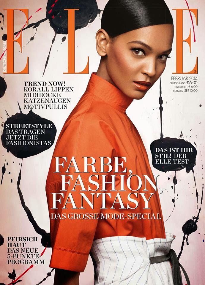 Magazine Cover : Liya Kebede Magazine Photoshoot Pics on Elle Magazine Germany February 2014 Issue