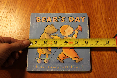 Recycled crafts:  boardbook diy Photoshop  teacher measuring width of book