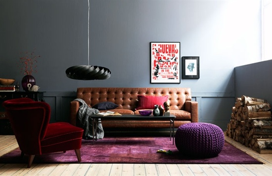Grey Walls and Tan Leather Sofa