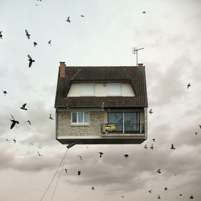 Casas,voladoras,Laurent Chehere,Fying,houses,francia,france,paris,19th, 20th,arrondissement,pajaro,bird,windows,ventanas