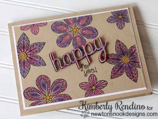 Happy for you Flower card by Kimberly Rendino | Beautiful Blossoms Stamp set by Newton's Nook Designs