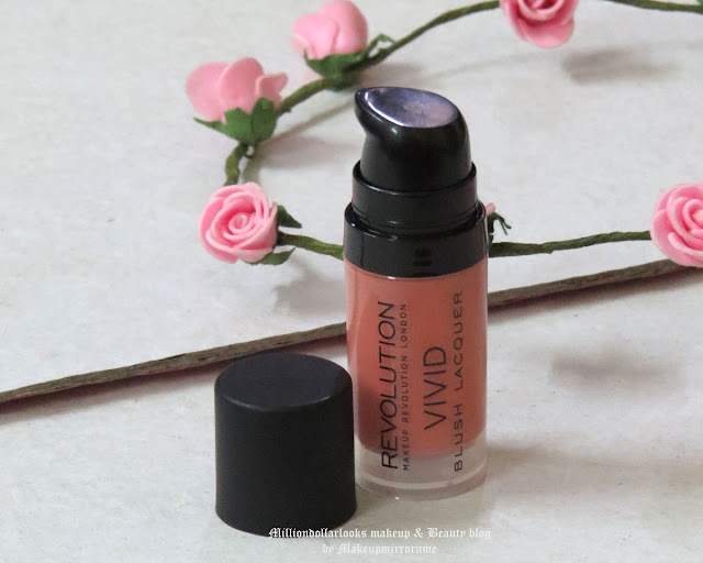 Makeup Revolution Vivid Blush Lacquer Heat Review, Pictures, Swatch & Price, Makeup Revolution, Indian makeup and beauty blog, Indian beauty blogger,  Blush review, Coral blush, Best affordable blush available in India, Indian beauty blog, Indian makeup blogger