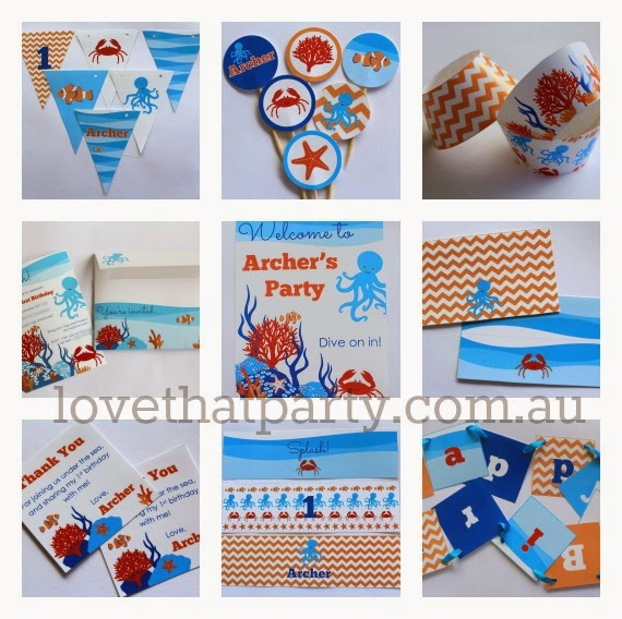 Under the Sea Party - Party Printable invitations and decorations by Love That Party. Heaps of great party ideas, diy's, easy cake decorating tutorials and party printables. www.lovethatparty.com.au