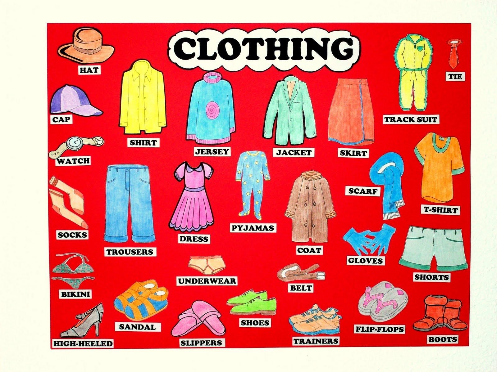 English Everiday: Prendas de vestir(