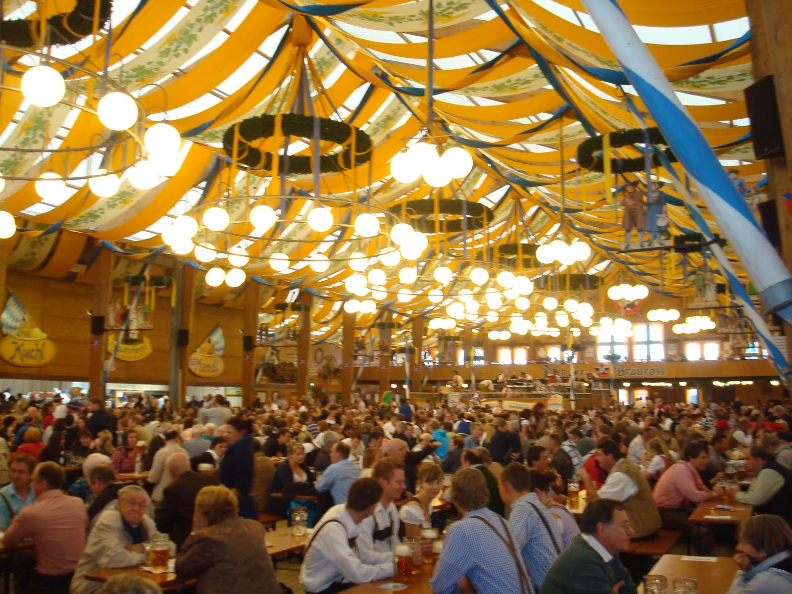The Winzerer Fähndl holds 8450 people inside and sits 2450 outside making it the largest of the Oktoberfest tents. They serve Paulaner beer here. & ROWDY IN GERMANY: Oktoberfest Tents