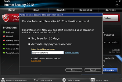 Panda Internet Security 2012 Activation Code