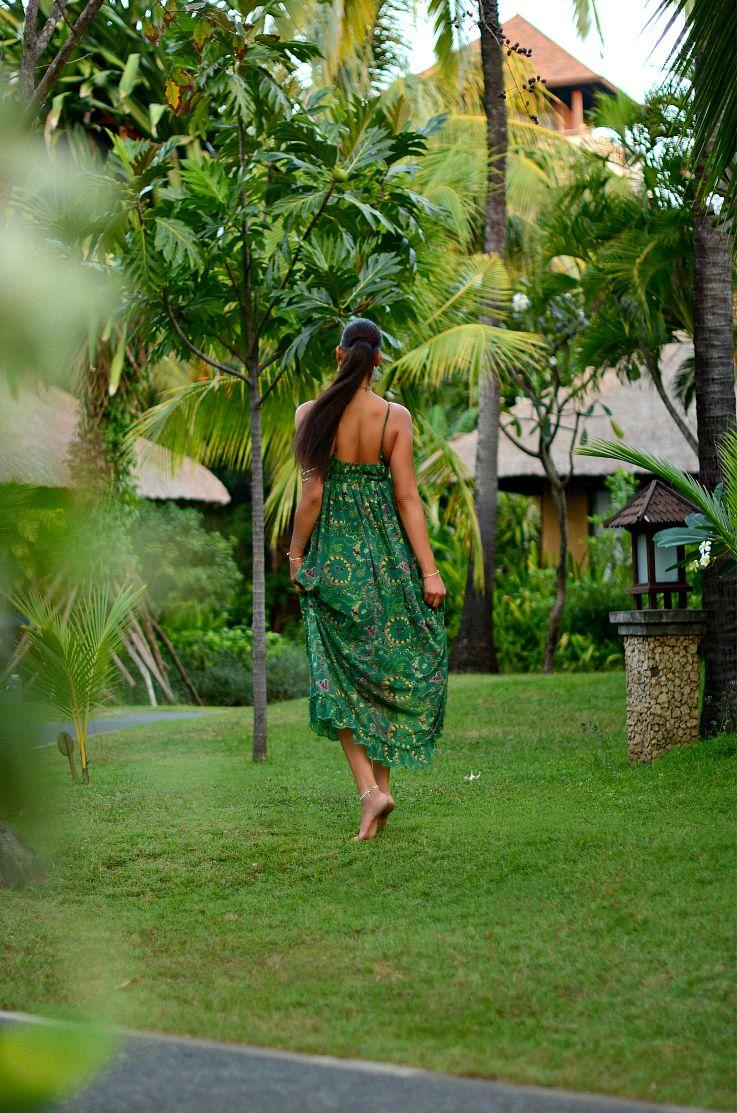 Bali, Indonesia, LookBook Store Green printed maxi dress, Coin necklace, Myca Couture, Legian Beach hotel, Flash tattoo, Tamara Chloé, TC Style Clues