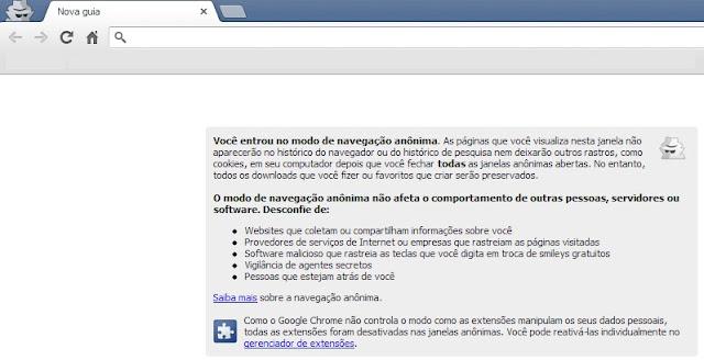Usando o Chrome no modo anônimo