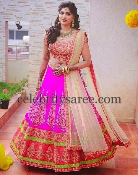 Bride in Fuchsia Pink Lehenga