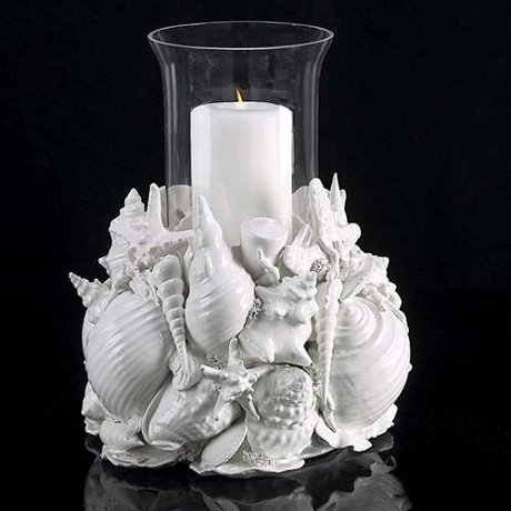 Make your own candle centerpiece for your beach wedding This centerpiece by