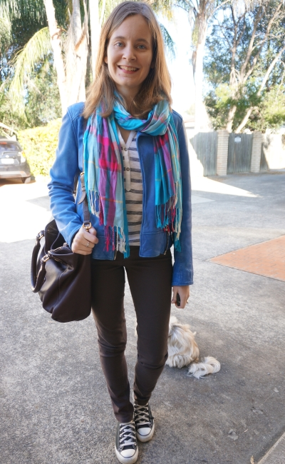 Casual print mixing outfit stripes tartan scarf cobalt blue leather jacket converse