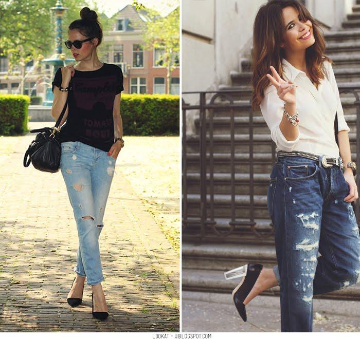 Úsalos anchos con zapatos altos Al usar jeans anchos y con rotos, debemos darle feminidad y estructura a todo el outfit, y una buena forma es usando
