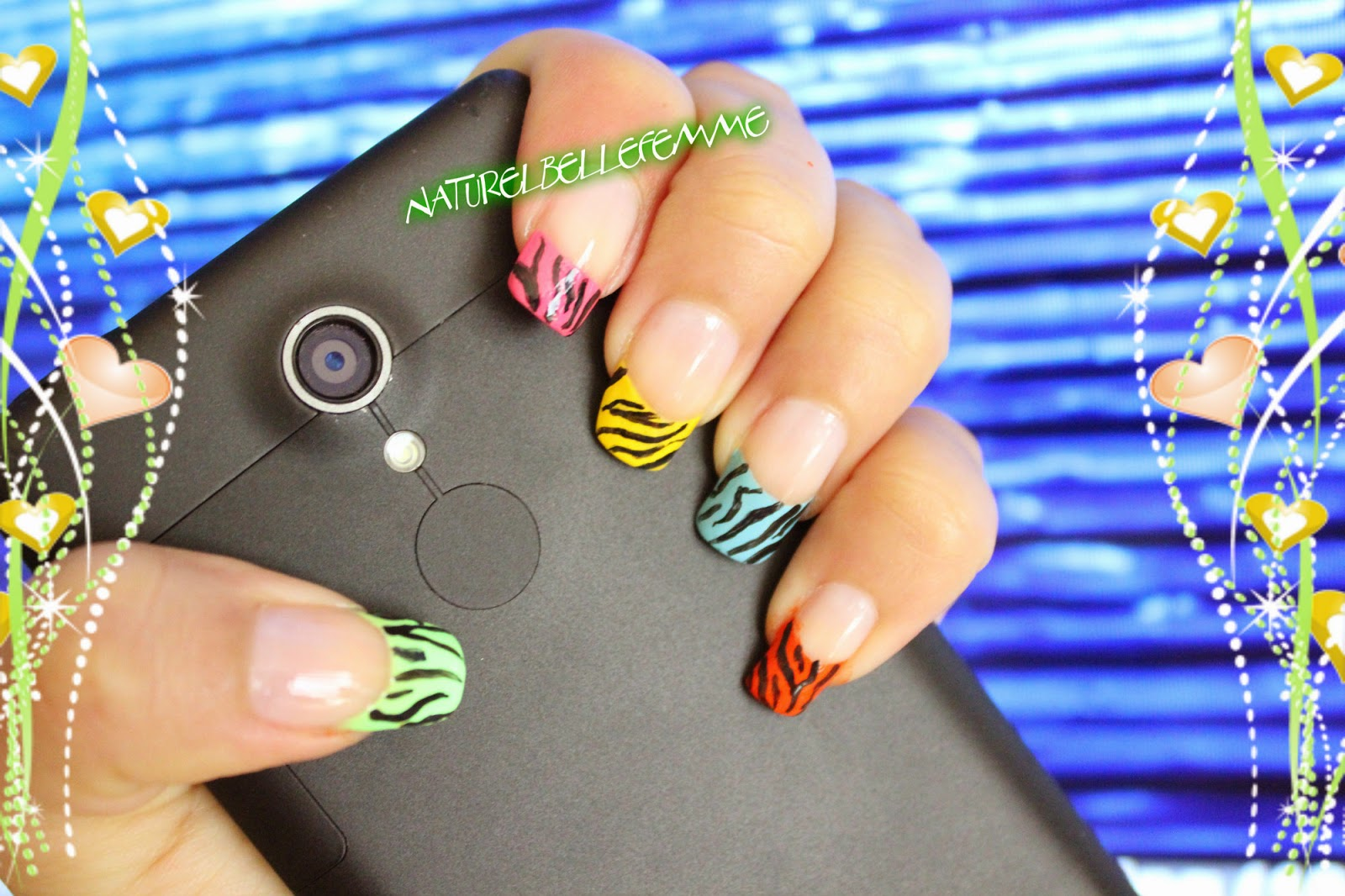 neon french nail art