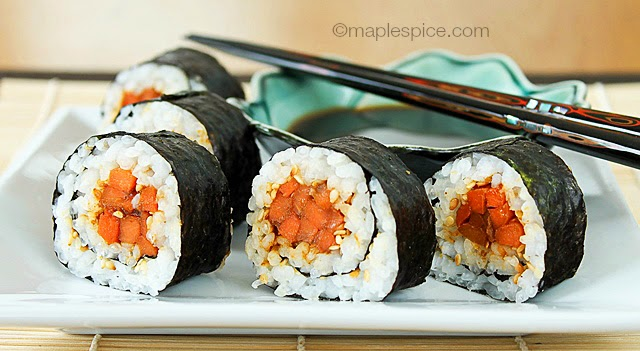 Miso-Ginger Glazed Roasted Carrot and Toasted Sesame Sushi - vegan and gluten-free recipe