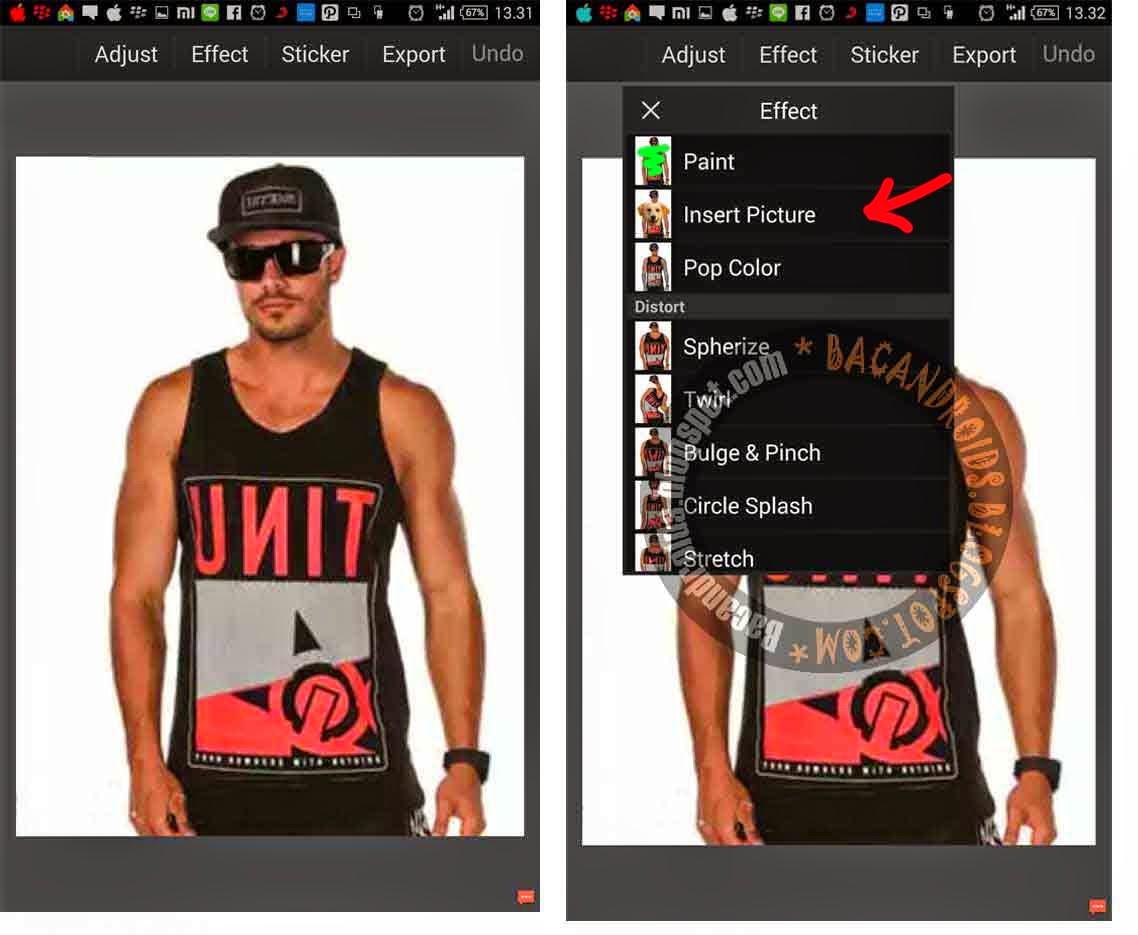 Membuat Efek Tatto di Tubuh Foto dengan PicSay Pro